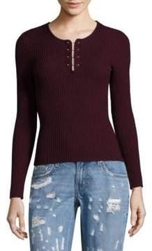 Derek Lam 10 Crosby Barbell Rib-Knit Wool Pullover