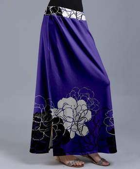 Lily Purple & White Pop Art Floral Maxi Skirt - Women & Plus
