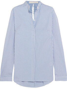 Dion Lee Cutout Striped Cotton-blend Poplin Shirt - Sky blue