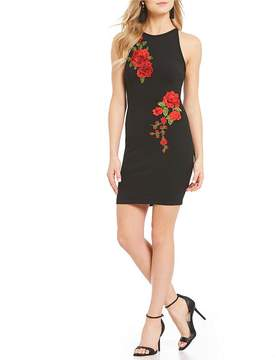 B. Darlin High-Neck Floral Embroidered Sheath Dress