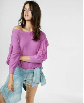 Express cut-out ruffle sleeve pullover sweater