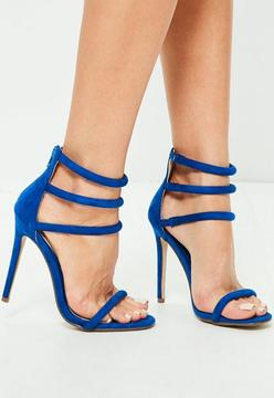 Missguided Rounded Strap Barely There Sandals Cobalt Blue