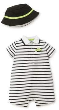 Little Me Baby Boy's Two-Piece Cotton Striped Romper and Hat Set