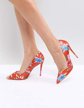 Aldo Heeled Court Shoe in Red Floral Print