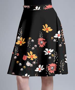 Lily Black Modernist Floral A-Line Skirt - Women & Plus