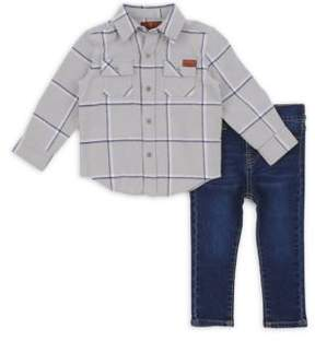 7 For All Mankind Toddler's & Little Boy's Two-Piece Plaid Collared Shirt & Slim-Fit Jeans Set