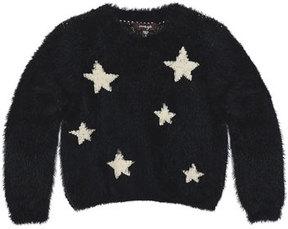 Imoga Chelsea Fluffy Knit Star Sweater, Black, Size 2-6