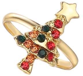 Alpha A A Christmas Gold Tone Christmas Tree Adjustable Ring
