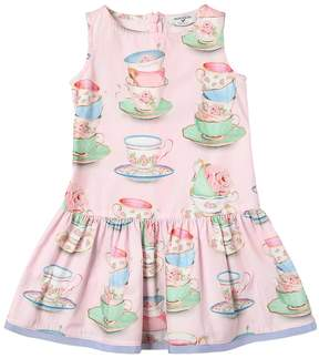 MonnaLisa Tea Cups Print Cotton Poplin Dress