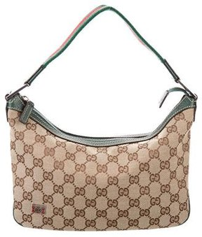 Gucci GG Canvas Web Shoulder Bag - BROWN - STYLE
