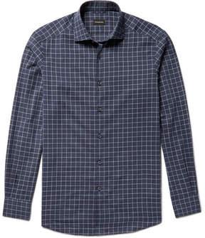 Ermenegildo Zegna Slim-Fit Windowpane-Checked Cotton Shirt