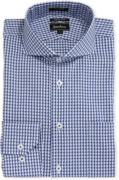 Neiman Marcus Trim-Fit Dobby Dress Shirt, Blue