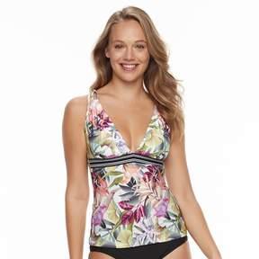 N. Women's Leafy Tropical Macrame Bust Enhancer Tankini