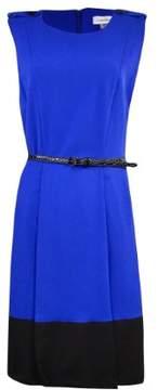 Calvin Klein Women's Belted Contrast-Hem A-Line Dress