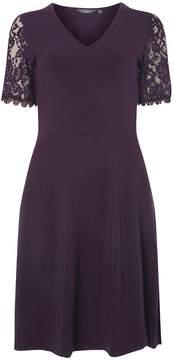 Dorothy Perkins **Tall Purple Lace Sleeve Skater Dress
