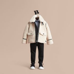 Burberry Leather Trim Shearling Aviator Jacket