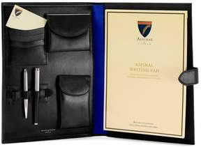 Aspinal of London A4 Conference Portfolio In Smooth Black Cobalt Suede