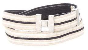 Hermes Striped Canvas Belt