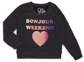 Chaser Girl's Printed Bonjour Sweatshirt