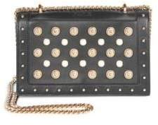 Balmain Pearl Embellished Leather Crossbody Bag