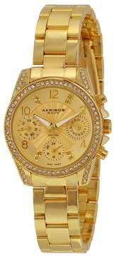 Akribos XXIV Multi-Function Gold Dial Gold-tone Alloy Ladies Watch