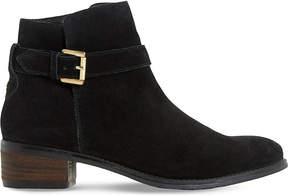 Dune Ladies Black Pheobie Buckle Strap Ankle Boots