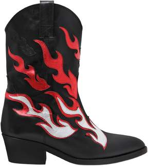 Chiara Ferragni 50mm Flames Leather Cowboy Boots