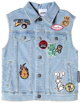 Moschino Stretch Cotton Denim Vest W/ Patches