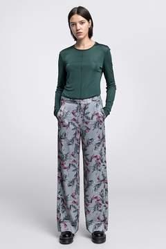 Dagmar | Vienna Shiny Viscose Trousers Flower Print | M