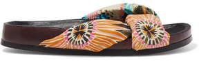 Chloé Floral-print Satin And Leather Slides - Orange