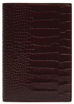 Smythson Mara Croc Embossed Leather Passport Case - Burgundy