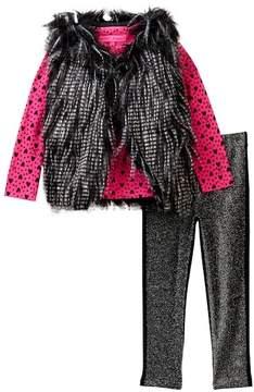Betsey Johnson Heart Print Tee, Faux Fur Vest & Sparkle Legging Set (Little Girls)