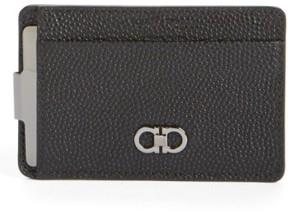Salvatore Ferragamo Men's Leather Money Clip Card Case - Black