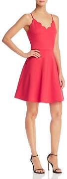 Aqua Scalloped V-Neck Fit-and-Flare Dress - 100% Exclusive