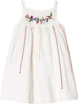 Catimini White Embroidered Flower Cotton Sun Dress