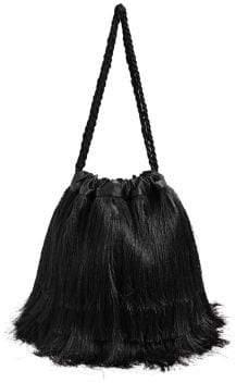 MANGO Fringe Satin Bucket Bag