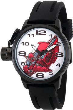 Marvel Mens Deadpool Black and White Crown Protector Strap Watch