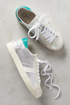 D.A.T.E Hill Low Silver Laminated Sneakers