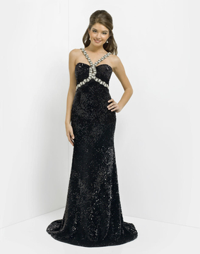 Blush Lingerie Sparkling Long Dress with Rhinestones Straps 9770
