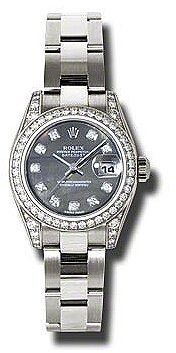 Rolex Lady Datejust 26 Black Mother of Pearl Dial 18K White Gold Oyster Bracelet Automatic Watch