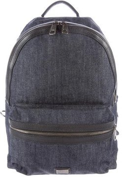 Dolce & Gabbana Leather-Trimmed Denim Backpack w/ Tags