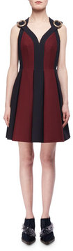 DELPOZO Bicolor Boucle Buckle-Strap Cocktail Dress