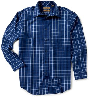 Roundtree & Yorke Gold Label Big & Tall Non-Iron Long-Sleeve Windowpane Sportshirt