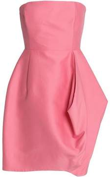 Halston Strapless Pleated Cotton And Silk-Blend Mini Dress
