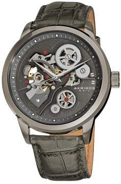 Akribos XXIV Akribos Manual Wind Skeleton Dial Grey Leather Men's Watch