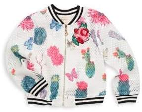 Hannah Banana Little Girl's Embroidered Floral Bomber Jacket