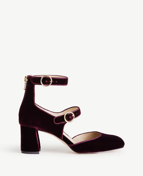 Ann Taylor Arielle Velvet Mary Jane Pumps