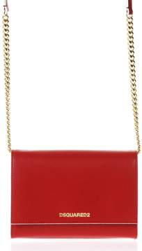 DSQUARED2 Red Leather Chain Strap Shoulder Bag