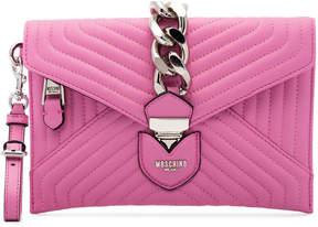 Moschino Pink Envelope Quilted Leather Clutch