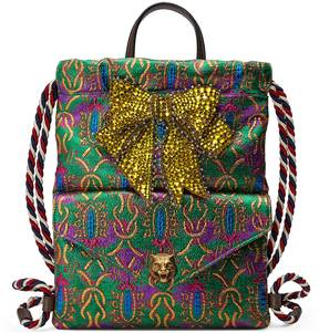 Gucci Crystal bow brocade drawstring backpack - MULTICOLOR BROCADE - STYLE